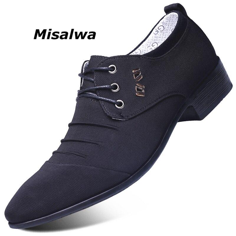 87fd65c87 Melhor Misalwa Masculino Tecido Preto Derby Ocasional dos homens Cinza Azul  Canvas Lazer Sapatos de Casamento Escritório de Negócios Formal Moda  LuxuryDress ...