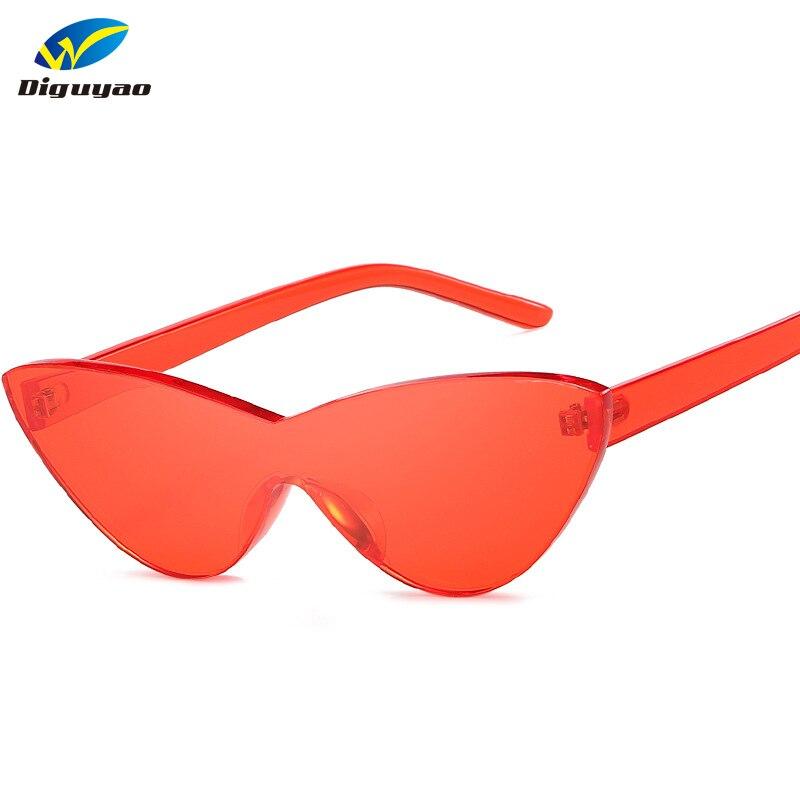 Angemessen Diguyao Marke Neue Cat Eye Sonnenbrillen Frauen 2019 Randlose Rahmen Farbton Klare Linse Bunte Sonnenbrille Rot Rosa Gelb Shades