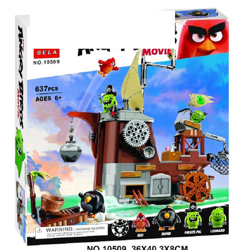 Lepin 75825 Pogo Bela 10509 637Pcs+ Birds Piggy Pirate Ship Models Building Blocks Bricks Compatible Legoe Toys lepin 22001 pirate ship imperial warships model building block briks toys gift 1717pcs compatible legoed 10210