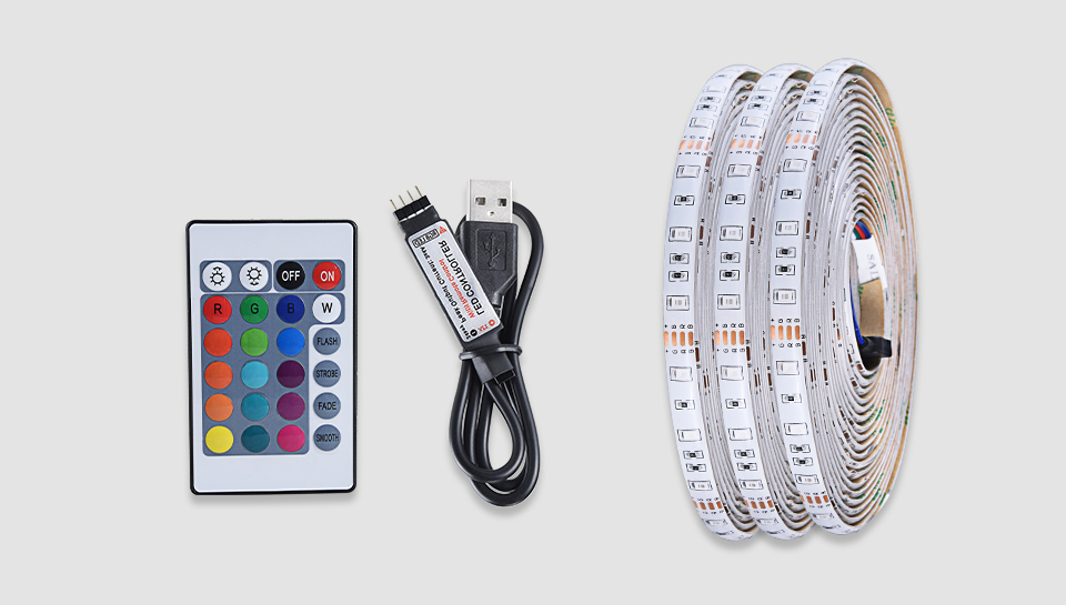 2835 SMD RGB USB charger LED Strip light DC 5V USB Cable LED Light lamp Flexible Tape 1M 2M 3M 4M 5M RF IR RGB Remote control (21)