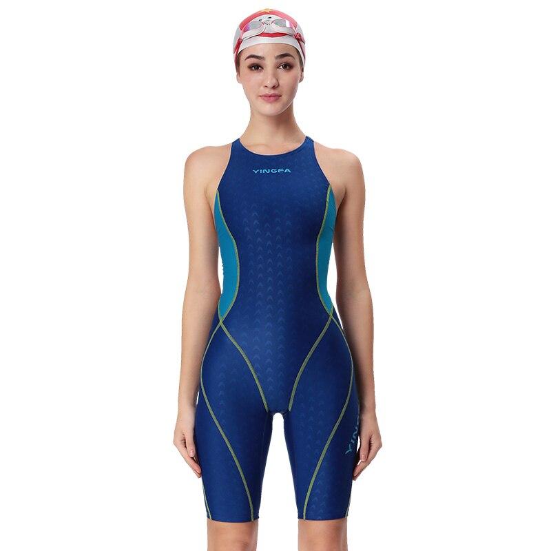 Yingfa one piece competition knee length waterproof women's swimwear sharkskin swimsuit sport racing training swimming suit