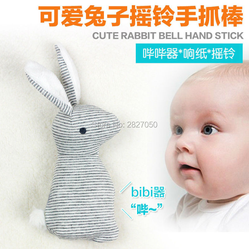 High Quality Baby Rattle Infant BB Toys Lovely Baby Stuffed Rabbit Bell Hand Stick Early Childhood Development Sound Toy