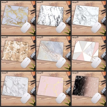 Mairuige 22X18CM Beautiful Computer Mouse Pad Soft Natural Rubber Pink Gold White marble Series Mice Square