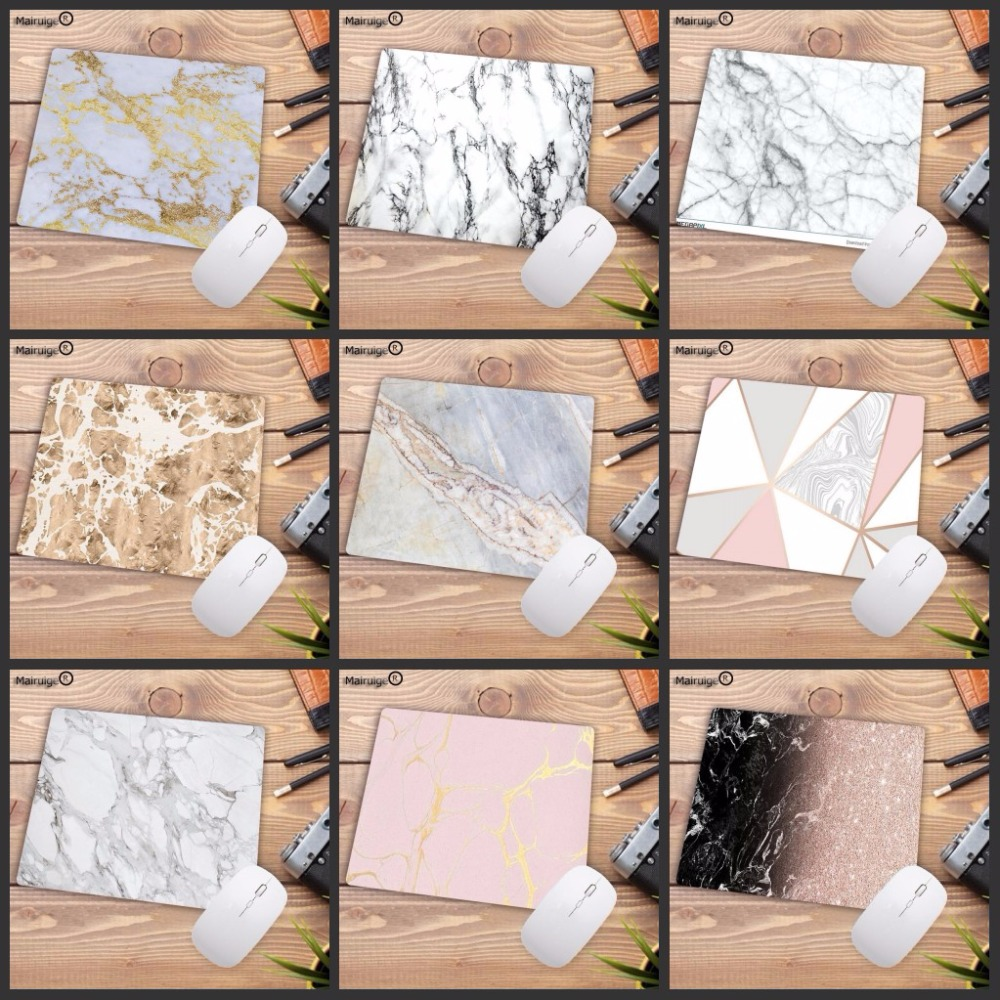 Mairuige 22X18CM Beautiful Computer Mouse Pad Soft Natural Rubber Pink Gold White marble Series Mice Pad Square Gaming MousePads стоимость