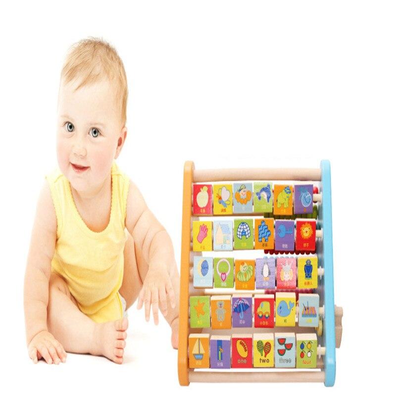 Lettres cognitives calcul à cinq faces apprentissage multi-fonction Rack en bois enfants éducatifs mathématiques outil couleur Animal