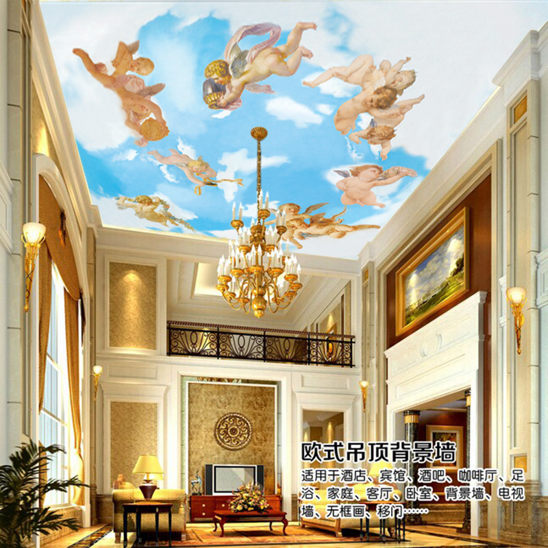 Free Shipping European oil painting background wall wallpaper ceiling mural hotel living room wallpaper angel  free shipping large mural wallpaper villa living room ceiling european oil painting wallpaper
