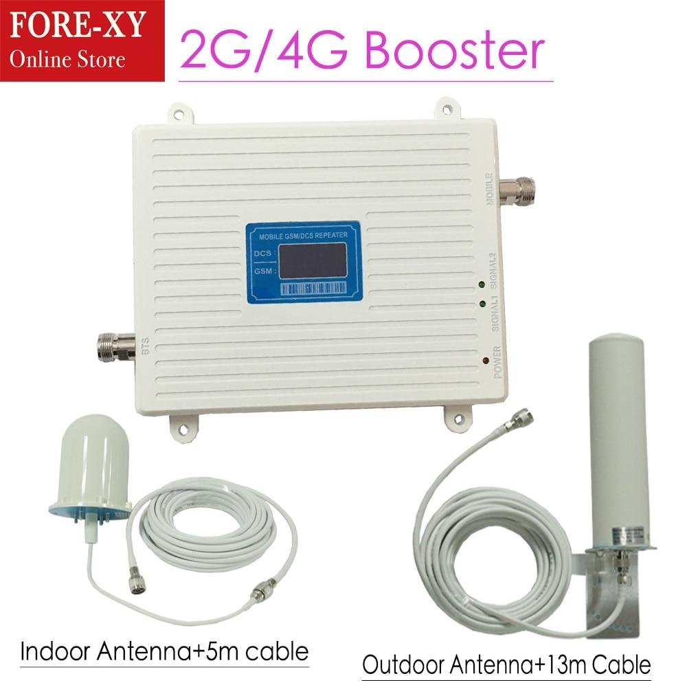 Display LCD 2g 4g GSM repetidor 900 LTE 1800 Dual Band Sinal celular Impulsionador 65dB Ganho gsm Repetidor 4g 4g Amplificador repetidor