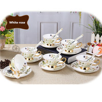 1 set Ontinental European Tea Set Ceramic Coffee Cup And Saucer Spoon Set Advanced 101 200ml Porcelain Cup For Gifts 8ZOP02