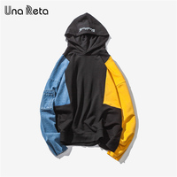 Una Reta Hoodies Men Hip Hop Fashion Streetwear Brand Stitching Men S Sportswear Homme New Autumn