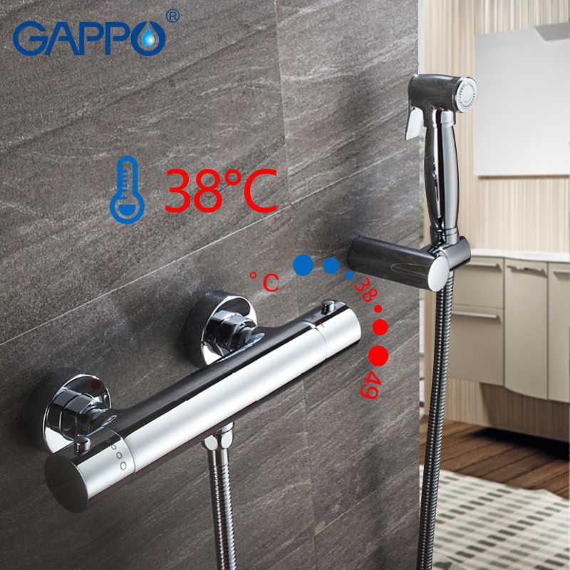 GAPPO תרמוסטטי אמבטיה ברז קיר רכוב בידה ברז כרום מקלחת בידה מרסס שרותים מוסלמי מקלחת מכונת כביסה מיקסר ברז