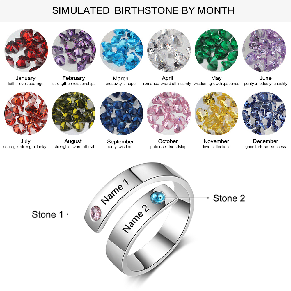 Personalized Birthstone Ring Engraved 2 Name Custom Promise Ring Anniversary Jewelry Gift for Women and Couples Lam Hub Fong in Rings from Jewelry Accessories