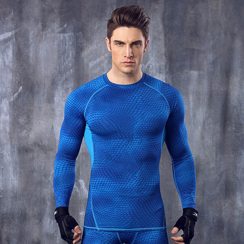 Long Sleeve t shirt men Sport jogges Bicycle Fitness Crossfit Shirt Tights Fitness Men M ...