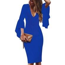Womens Sexy V-neck Flare Bell Long Sleeves Elegant Casual Slim Pencil Dress
