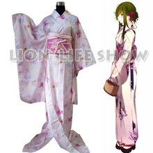 Japanese Women Long Furisode Kimono Light Pink Floral Simple Cosplay Costume