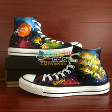 Shoes Man Woman Converse Chuck Taylor Firefly Galaxy Nebula Design Hand Painted High Top Sneakers Men Women Christmas Gifts