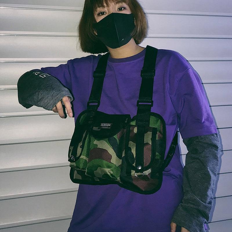 100% Waar Oeak Mode Nylon Borst Rig Tas Zwart Vest Hip Hop Streetwear Functionele Tactische Harnas Borst Rig Borst Zak Matige Prijs