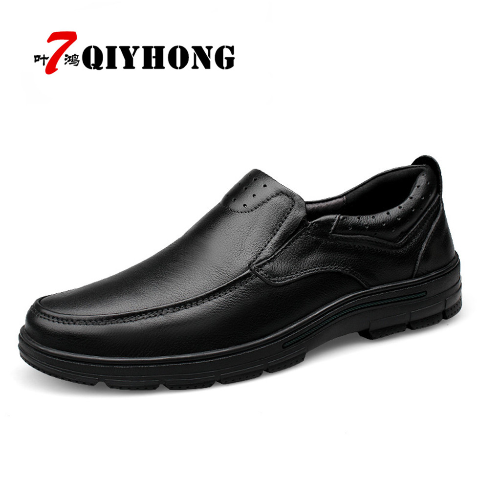 Fashion QIYHONG Genuine Leather Men Shoes,Handmade High Quality Men Casual Shoes, Brand Shoes Men Loafers Sapatos Masculinos dxkzmcm genuine leather men loafers comfortable men casual shoes high quality handmade fashion men shoes
