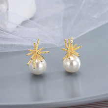 New Korea Coral Pearl ear Decoration s925 Silver Needle Personality Fashion Nail  cute earrings