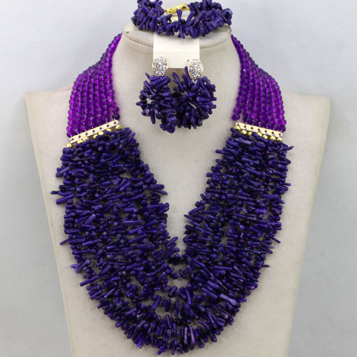 Traditional Purple Coral African Wedding Beads Jewelry Set ...