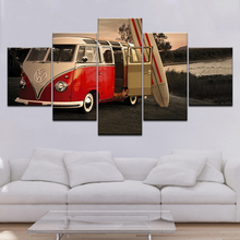 Artwork Modern Home Wall Art Decor Frame Pictures HD Prints 5 Pieces Retro Volkswagen Bus Car Painting On Canvas Poster