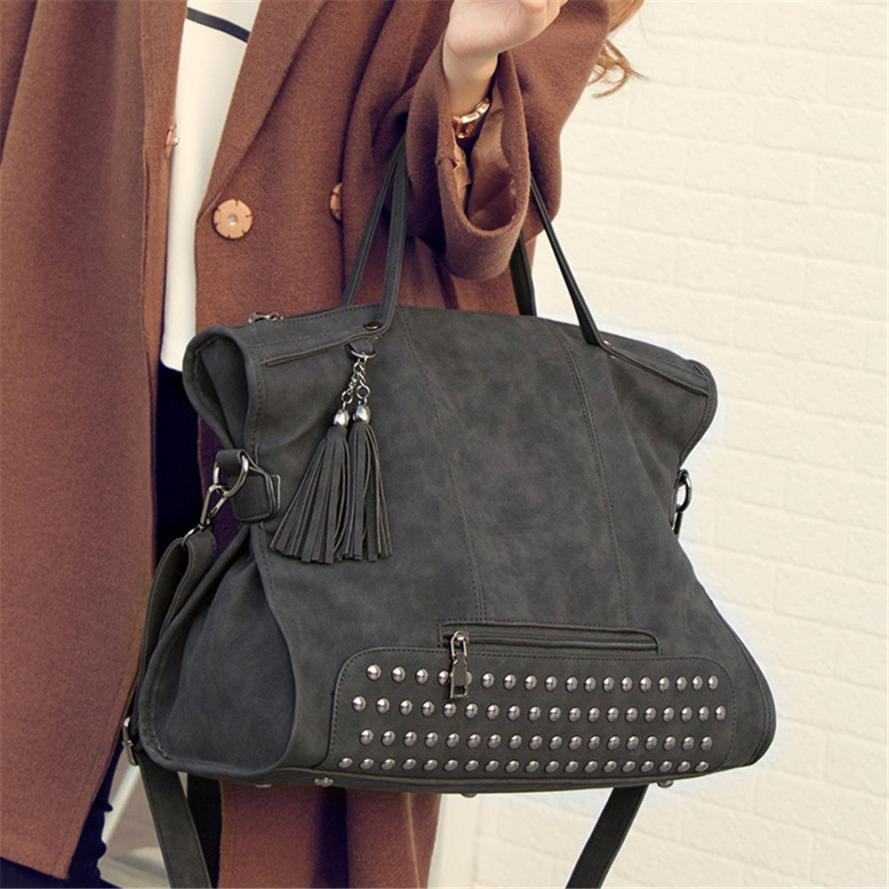 MOLAVE Shoulder Bag new high quality fashion lady Handbag Tassel Versatile Rivet shoulder bags for women leather jan11 new split leather snake skin pattern women trunker handbag high chic lady fashion modern shoulder bags madam seeks boutiquem2057