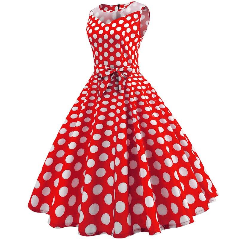Retro letné párty šaty 1950 s bodkami Swing style (8 variánt) 15
