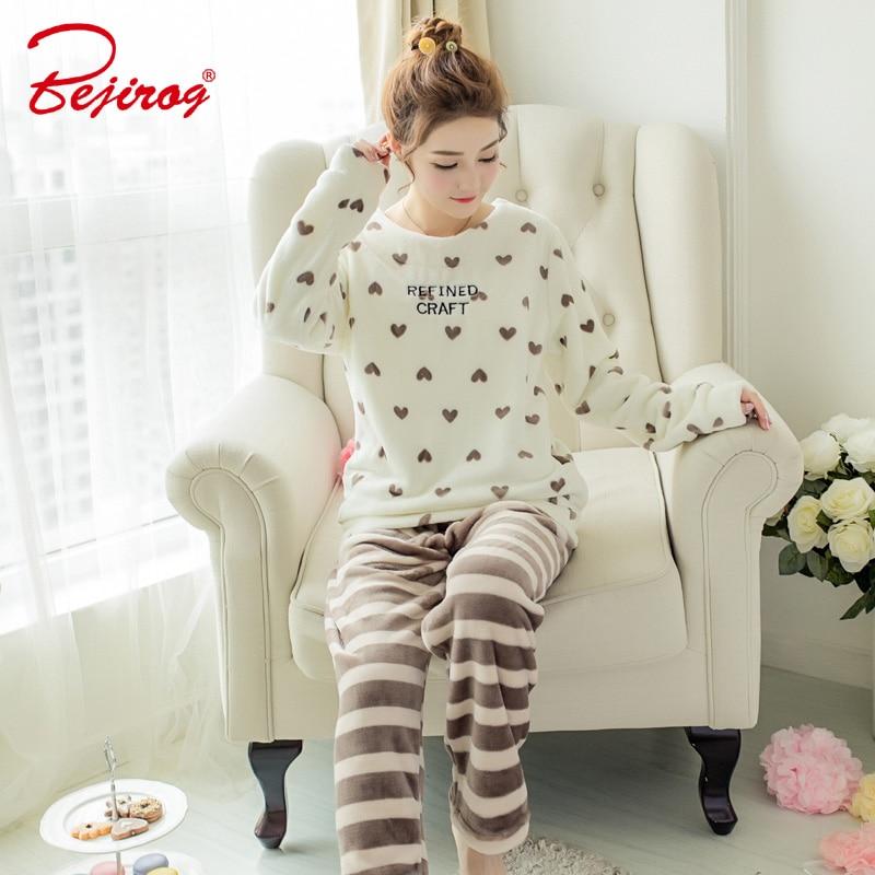 Bejirog black cat animal print flannel pajama set for women sleepwear in winter  pyjama coral nightwear ladies homewear plus size-in Pajama Sets from ... a7777ec6f