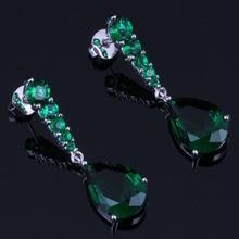 Very Good Water Drop Green Cubic Zirconia 925 Sterling Silver Dangle Earrings For Women V0716