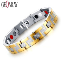 Bio Elements Energy Magnetic Bracelet Women Men Jewelry 4 In 1 Stainless Steel Chain Gold Color