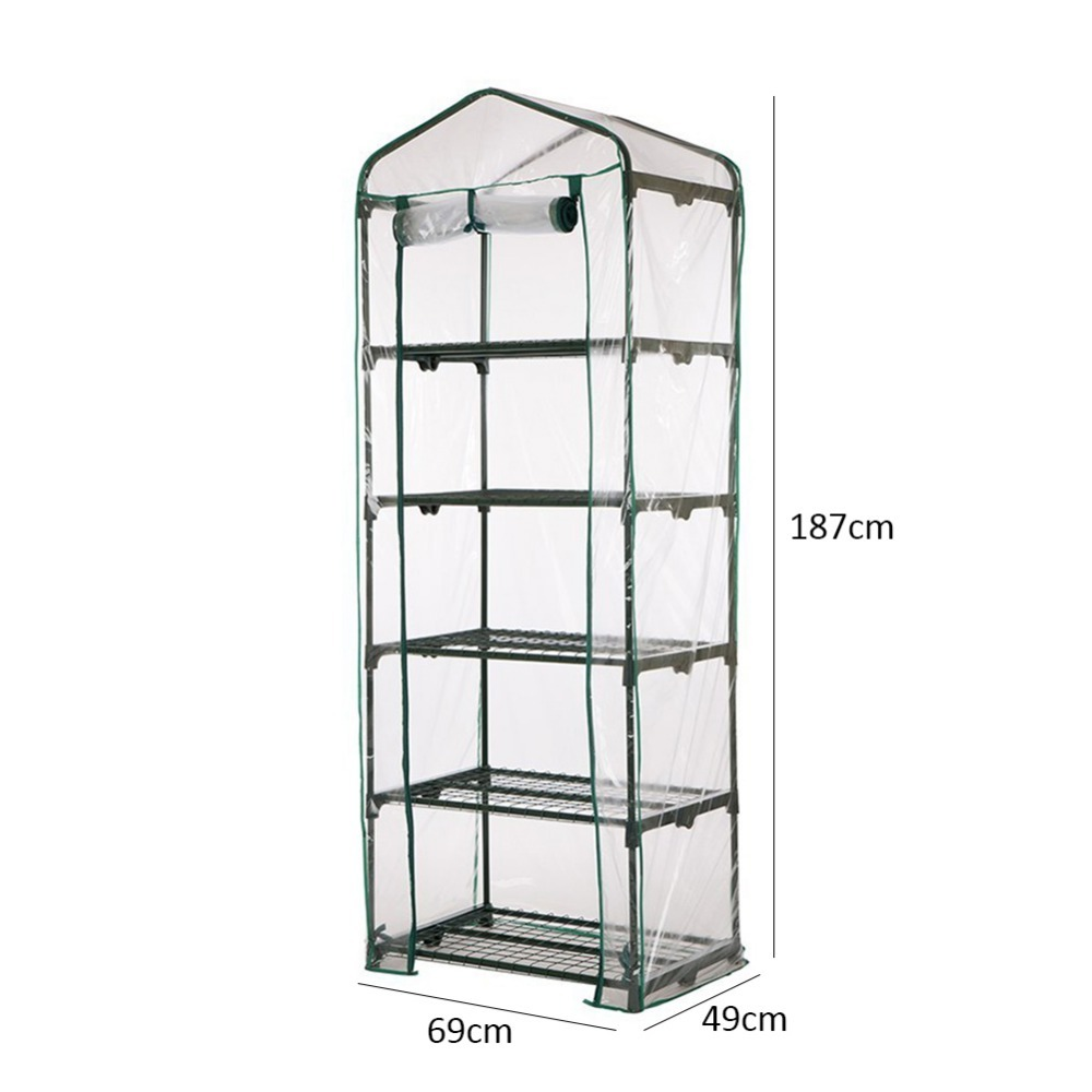 PVC Warm Garden Tier Mini Household Plant Greenhouse Cover Protect Plants Flowers Homes Garden Decoration (without Iron Stand) Home & Garden