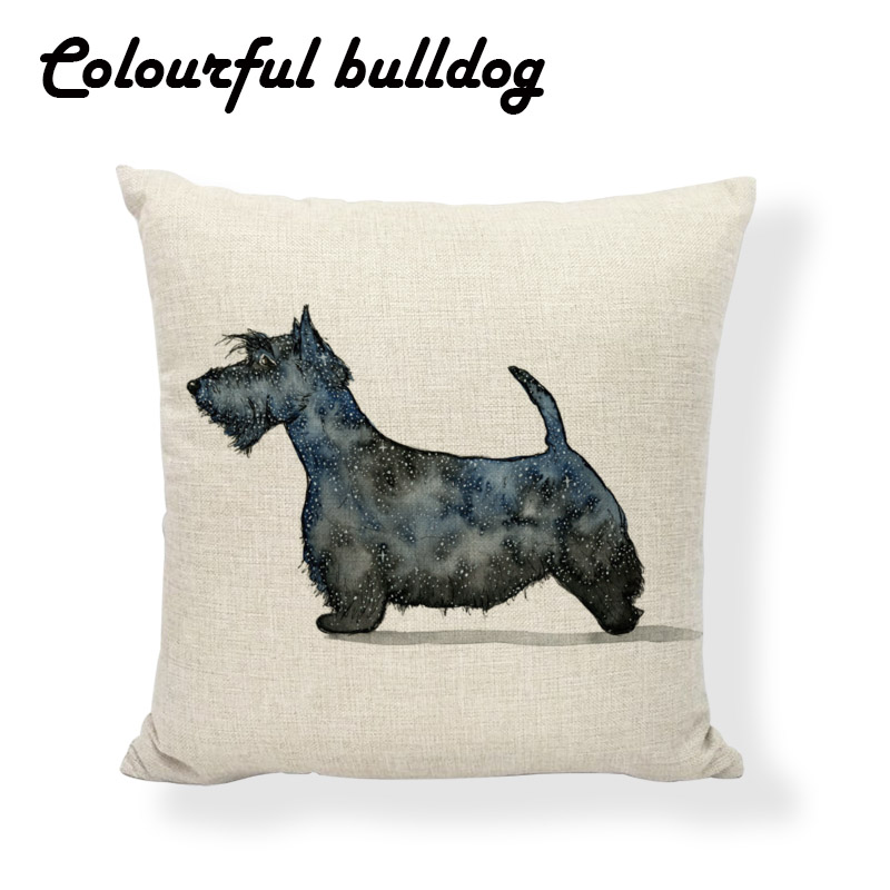 Stylish Pet Lovely Dog Schnauzer Pillow Animal Ink Painting Cushion Case Cat Fox Pillow Cover Funny Wedding Gift Square Cotton L