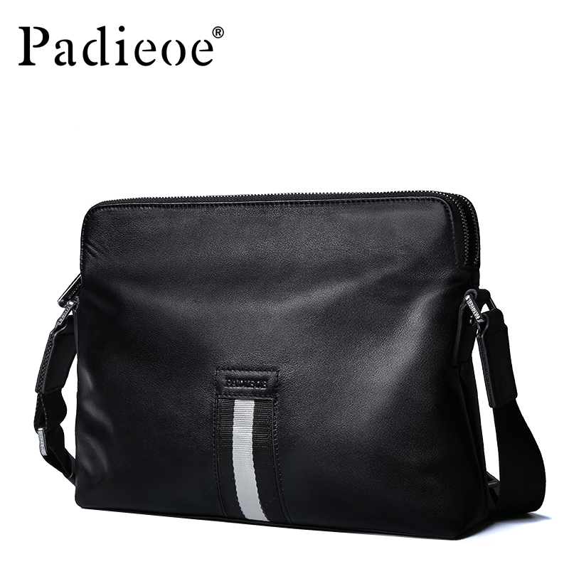 Padieoe Luxury Brand Genuine Cow Leather Men Messenger Bag High Quality Durable Man Shoulder Bag Business Casual Male Handbags padieoe luxury brand men wallets genuine leather male business oil cow leather trifold purse