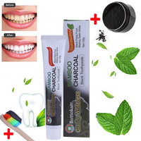 New Fashion Teeth Whitening Powder Organic Activated Charcoal Bamboo Toothpaste With Rainbow Toothbrush Oral Care Drop Shipping Health & Beauty