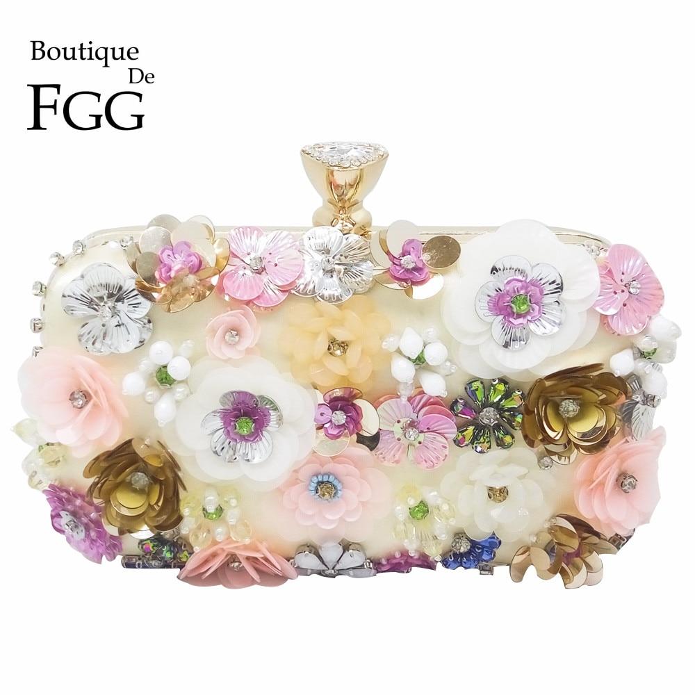 Boutique De Fgg Flower Sequins Appliques Women Beaded Gold Evening