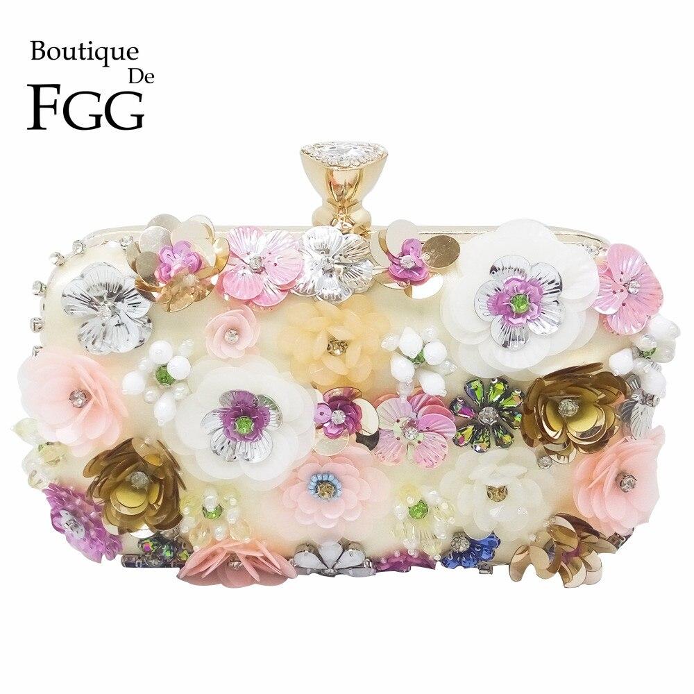 Boutique De FGG Flower Sequins Appliques Women Beaded Gold Evening Purse Wedding Party Bridal Crystal Handbag Floral Clutch Bag