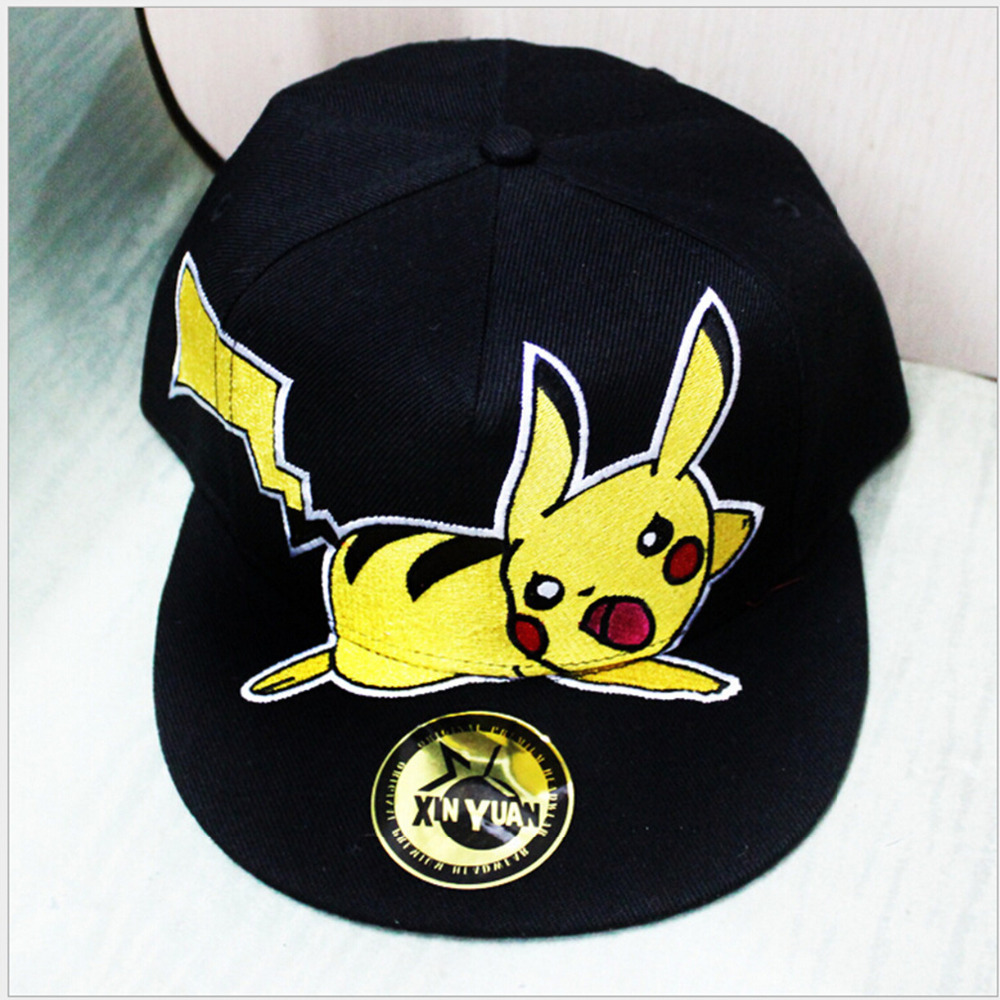 New Cartoon Pikachu Cosplay Cap Black Novelty Anime Pocket Monster ladies dress Pokemon go Hat charms Costume Props Baseball cap pokemon go baseball cap pocket pokemon game theme led optical cap pocket monster luminous hat m203