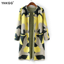 Long Sleeve Sweater Women 2016 Autumn Winter Fashion New Camouflage Long Knitted Female Cardigan Women's Trench