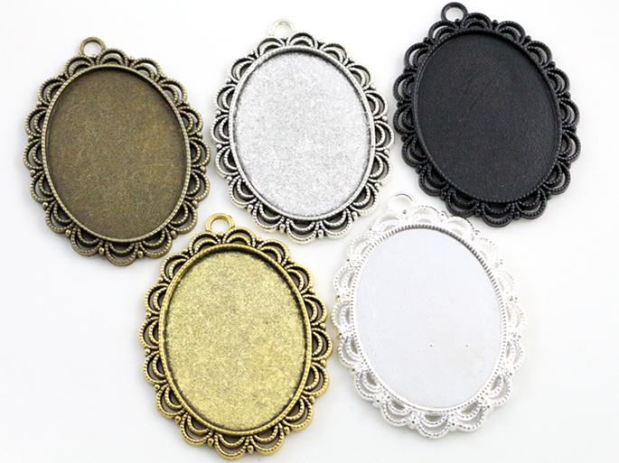 5pcs 30x40mm Inner Size 5 Colors Plated Pierced Flower Style Cabochon Base Setting Charms Pendant pierced