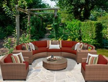 Sigma weatherproof safari outdoor deep seating modern furniture synthetic rattan sofa