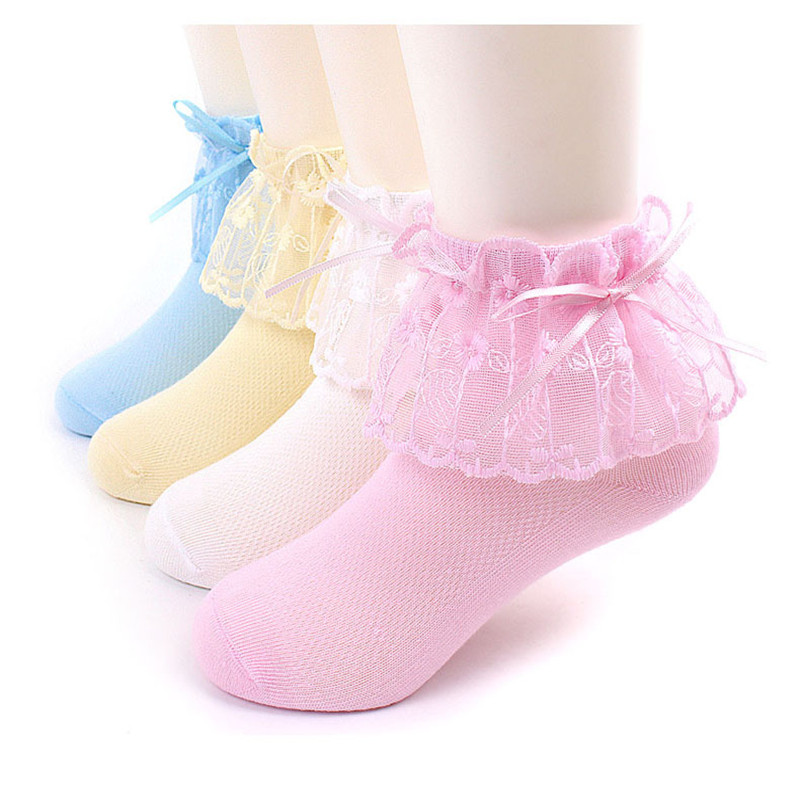 New Brand Spring Summer Girls Princess Lace Mesh Cotton Sock For Kids Children Ankle Socks Pink White Solid