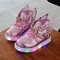 Crianças sapatos com luz 2016 Moda sapatilhas meninos meninas sapatos brilhantes asas de lona apartamentos primavera crianças iluminar sapatos