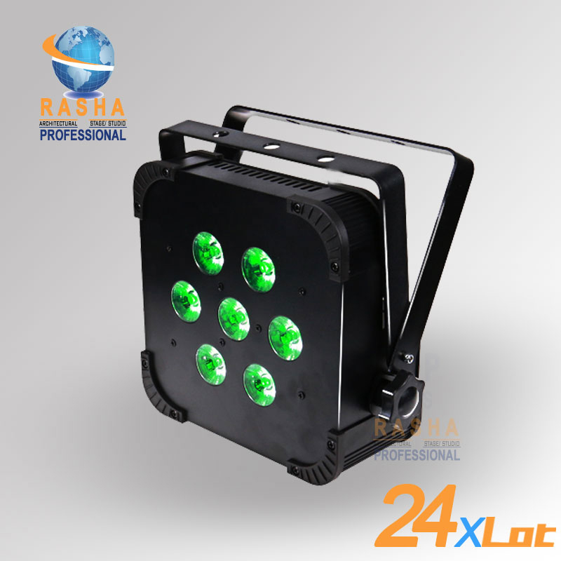 24X LOT Rasha Quad 7pcs*10W RGBA/RGBW 4in1 DMX512 LED Flat Par Light,Wireless LED Par Can For Disco Stage Party 4x lot rasha quad factory price 12 10w rgba rgbw 4in1 non wireless led flat par can disco led par light for stage event party