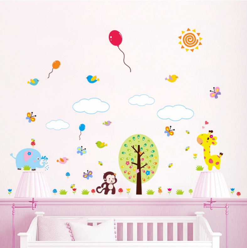 4 Cute Monkeys Wall Decals Sticker Nursery Decor Mural: Cute Animals Zoo Monkey Butterfly Tree Wall Sticker Kids