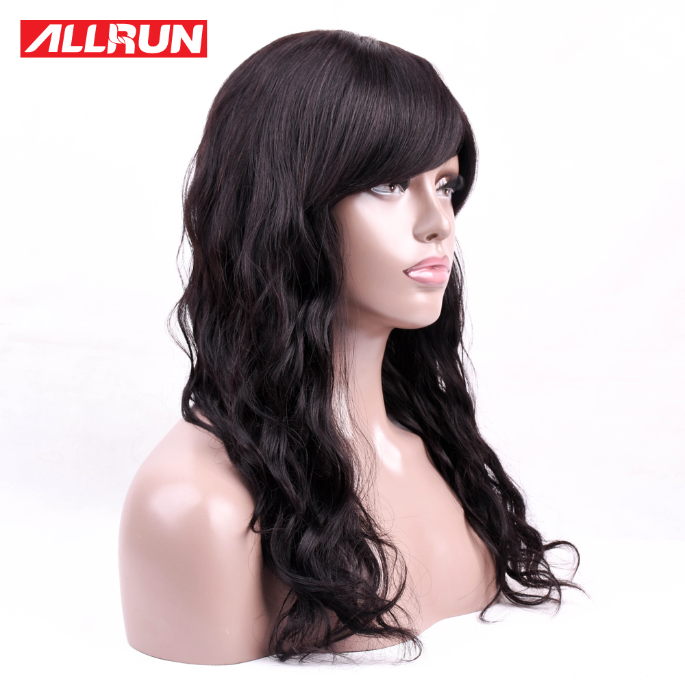 Allrun Brazilian Wavy Human Hair Wigs Machine Wig With Bangs For Women Wigs Natural Non Remy Short Wigs