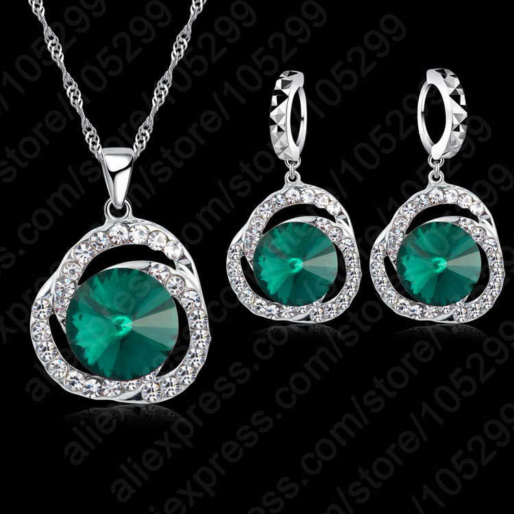 Wholesale Amazing Price Wedding Gift 925 Sterling Silver Color with Green Crystal Necklace+Earring Jewelry Set For Women gift