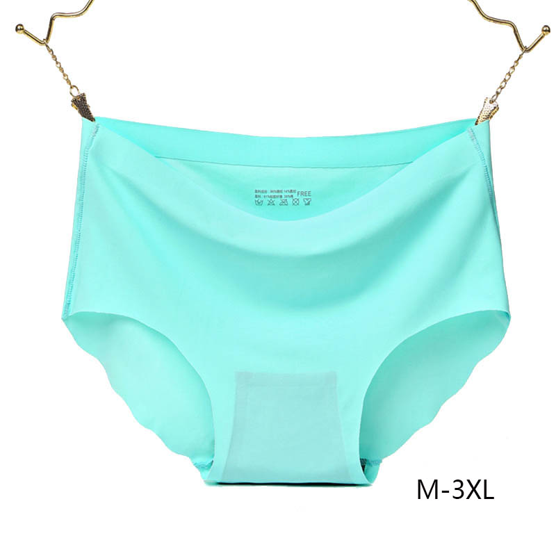 3XL Large Size Ice Silk Solid Women   Panties   Seamless Ruffle Soft Smooth Underwear Plus Size Middle Waist Cotton Crotch Breifs