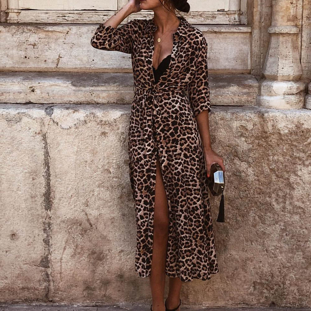 release info on reliable quality special sales Autumn Winter Dress Leopard Print Maxi Dress Ladies Holiday Long ...
