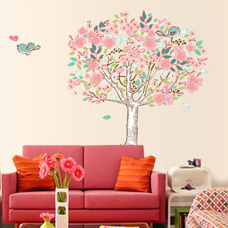 Buy bird flower tree removable vinyl wall for Pegatinas de pared ikea