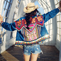 MX007 Новое Прибытие 2016 Осень ручной работы бисером вышитые верхней одежды женщины короткая сгущает замши пальто богемный стиль куртка женщин