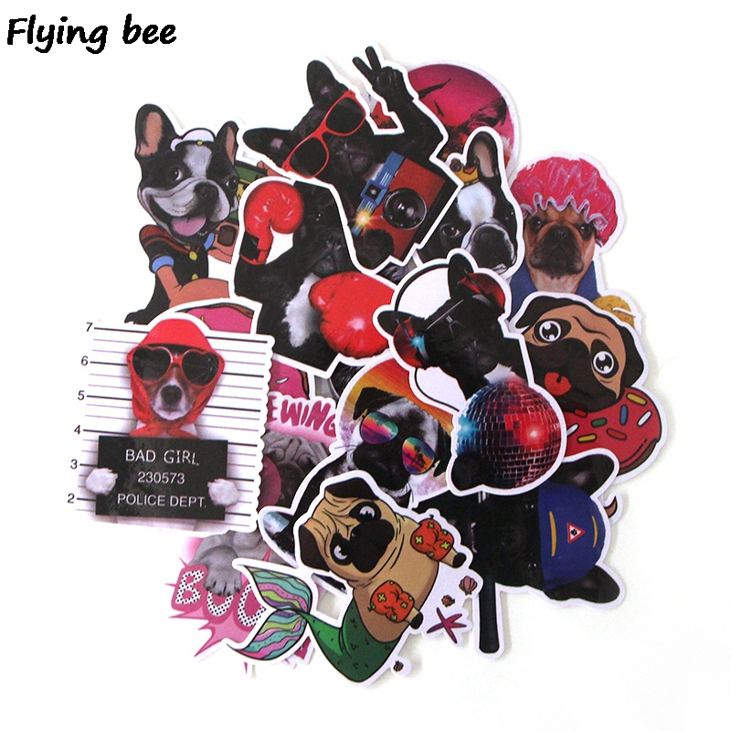 Flyingbee 15Pcs Bulldog Funny Waterproof Sticker Scrapbooking for phone luggage laptop guitar Graffiti Decal Pet stickers X0282-in Stickers from Consumer Electronics